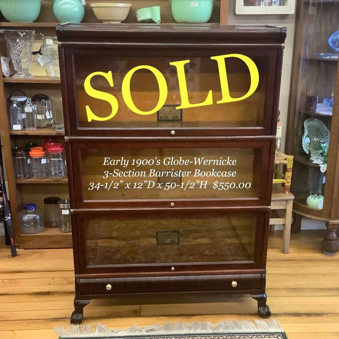 Early 1900's Globe-Wernicke 3-Section Barrister Bookcase   $550.00
