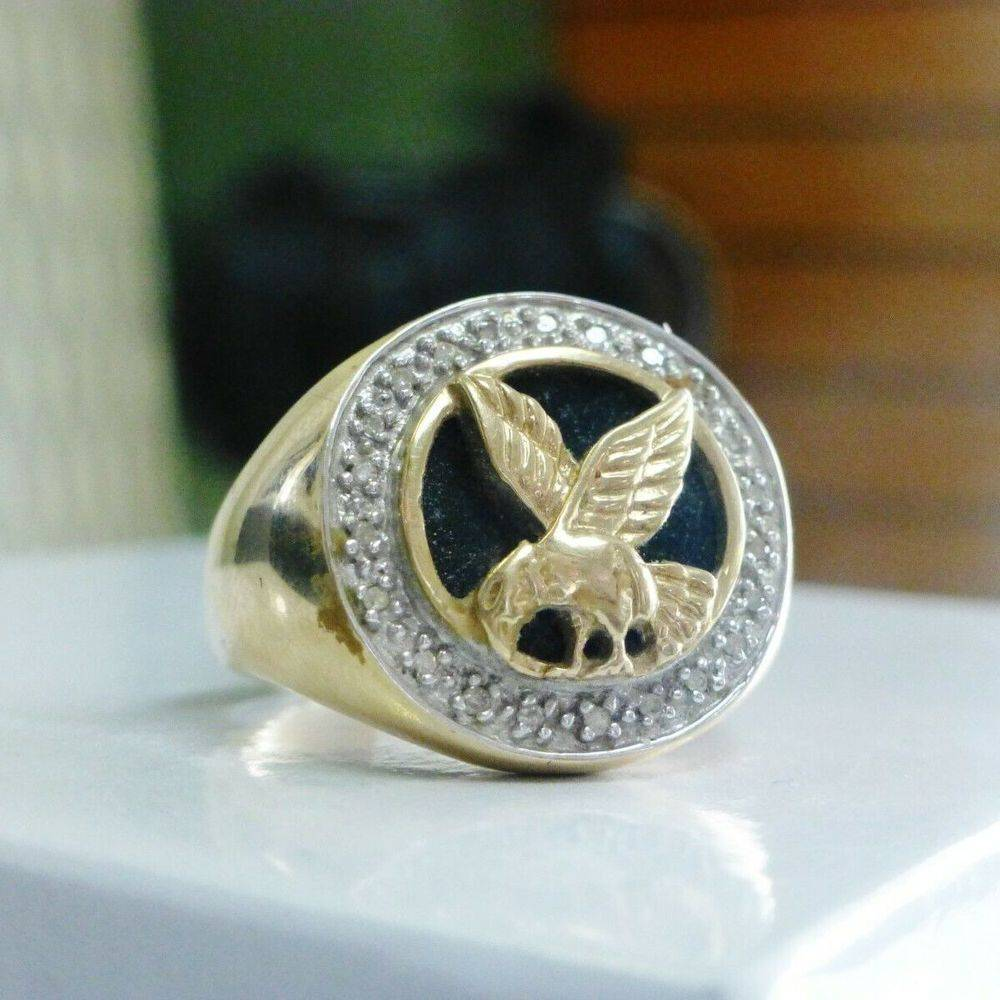 Yellow Gold Round Black Onyx Diamond Halo with Gold Eagle Men's Ring