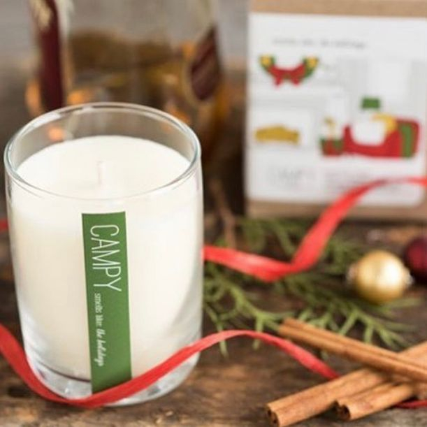 campy home holiday candle