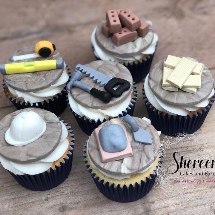 builder birthday cupcakes helmet spirit level saw hammer cement wood bricks