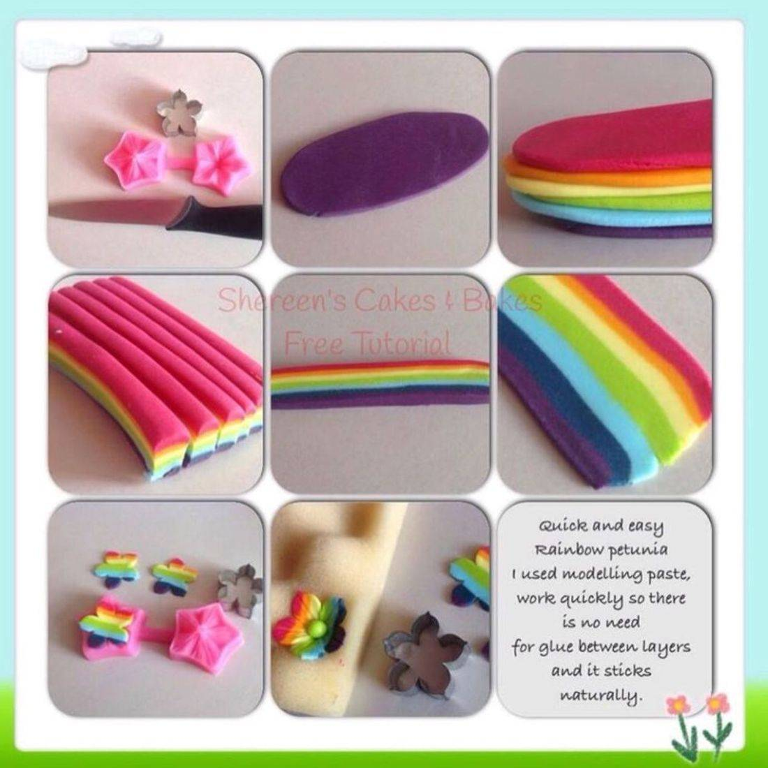 Rainbow Stripe Flower tutorail pictoral teaching class learn cake decorating