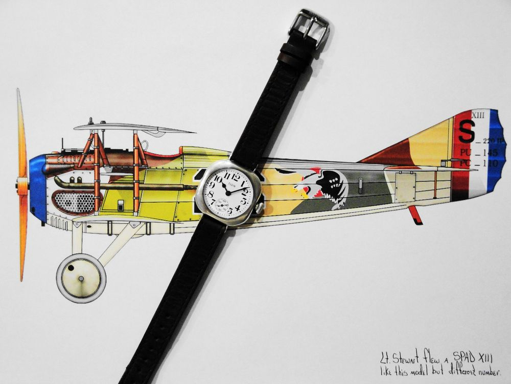 """Lt. William F. Stewart's 1917 WWI Elgin """"Admiral Benson"""" Trench Watch of the 27th Aero Squadron, 1st Pursuit Group"""