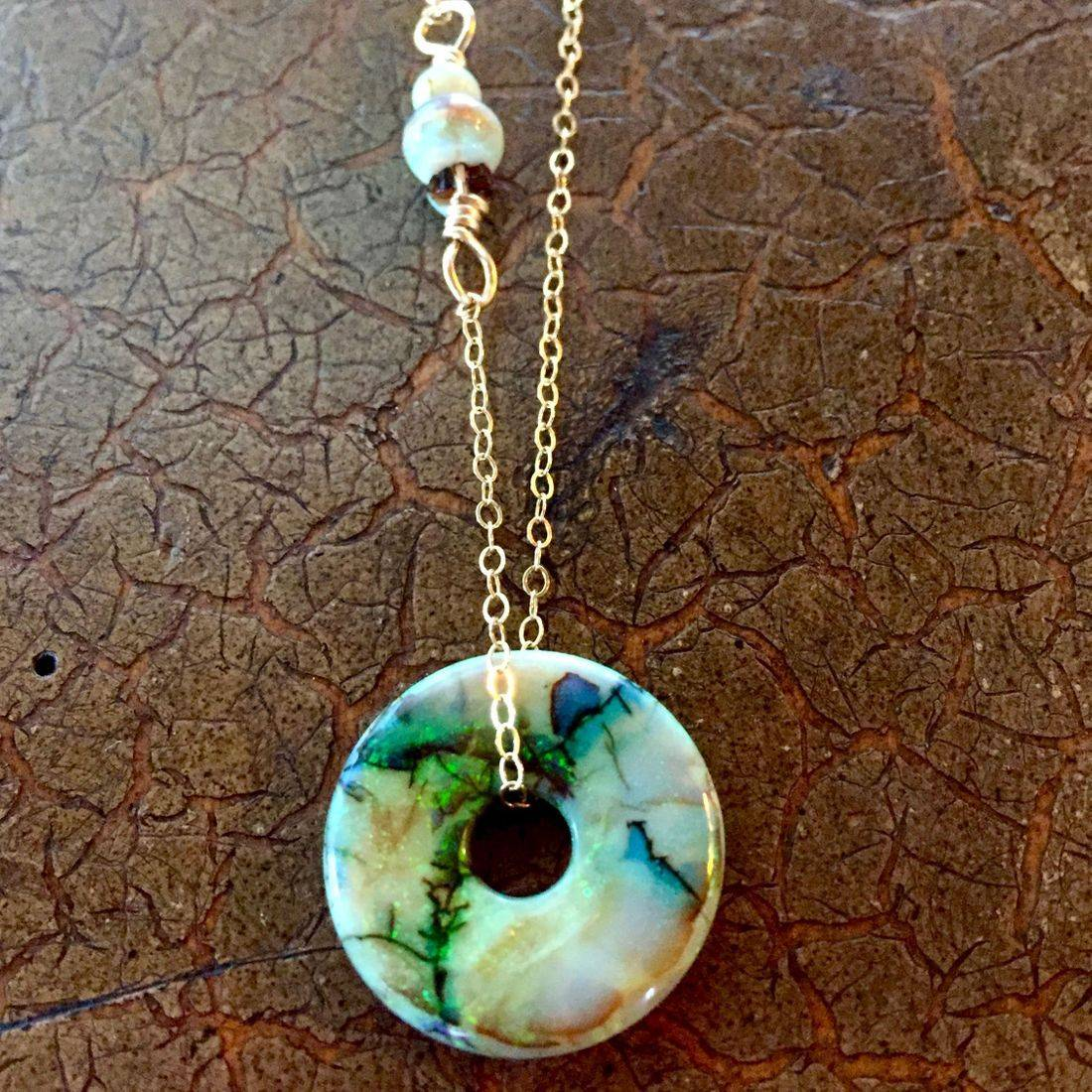 """Cultured Opal Lifesavers 18mm on 17"""" 14k gold filled chain $85.00 USD or 117.00 CAD"""