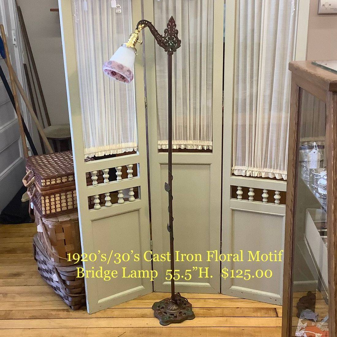 "1920's/30's Cast Iron Floral Motif Bridge Lamp  55.5""H.  $125.00"
