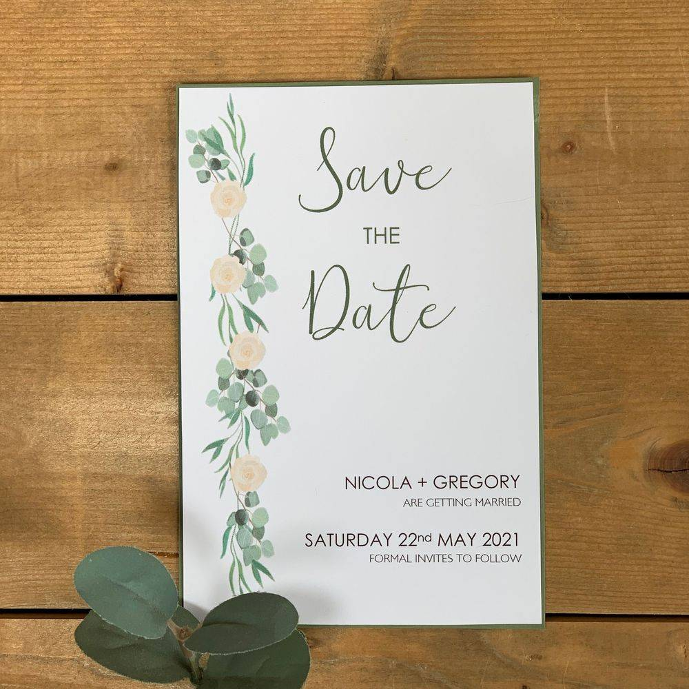 Eucalyptus and ivory roses Save the Date Cards