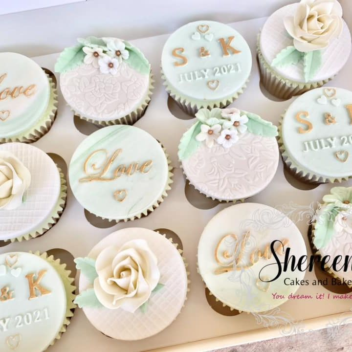 Personalised Wedding Love Rose Mint Green Gold Cupcakes