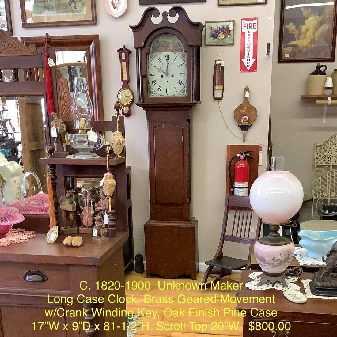 C. 1820-1900 Unknown Maker Long Case Clock, Brass Geared Movement w/Crank Winding Key, Oak Finish Pine Case.  $800.00