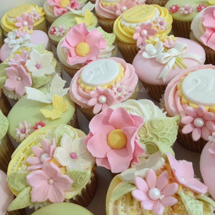 Pretty Flower Mother's Day Birthday Cupcakes Pink Yellow Green