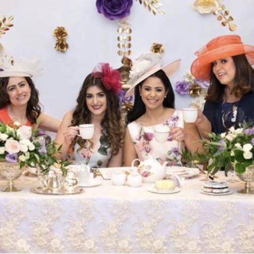 Tea Party Bridal Shower Theme paper flower backdrop