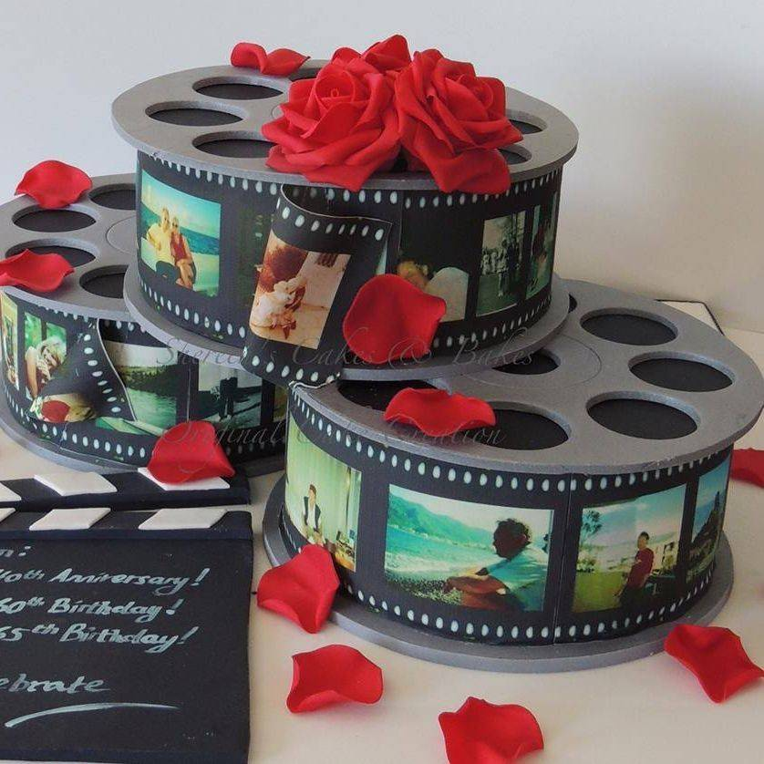 Film Reels Birthday Novelty Celebration Cake Life Pictures Family