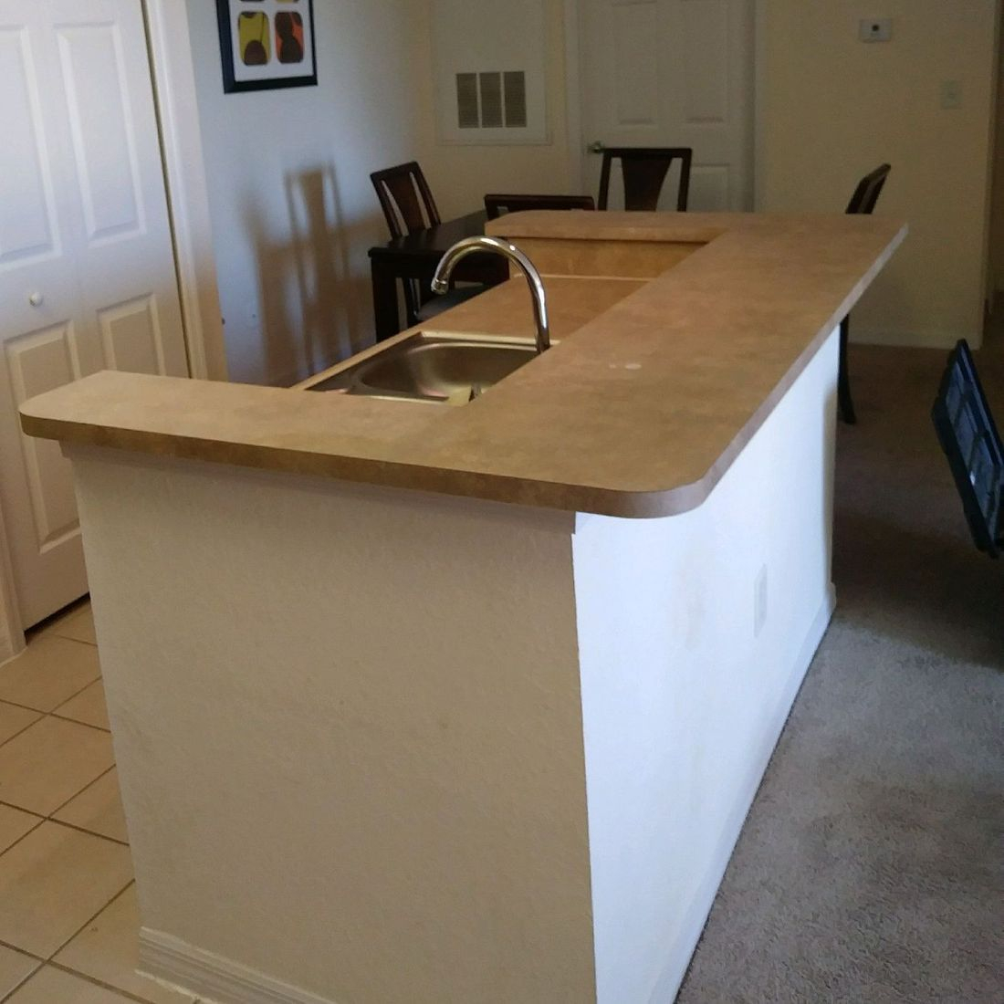 Kitchen Island before Refinished Countertop
