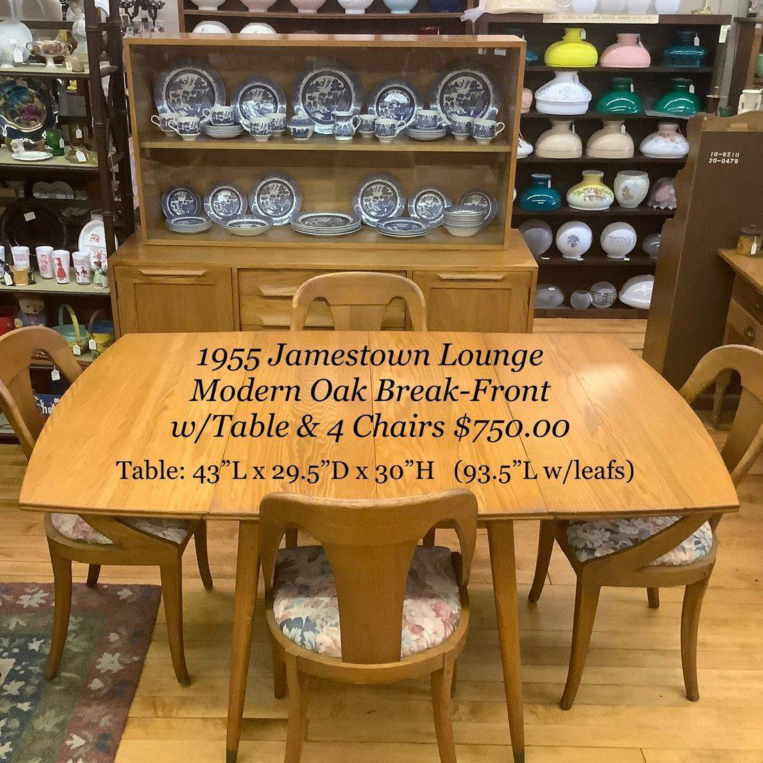 "1955 Jamestown Lounge Modern Oak Break front and Dining Table w/4 Chairs, 3-10"" Leafs and Pads   $750.00"