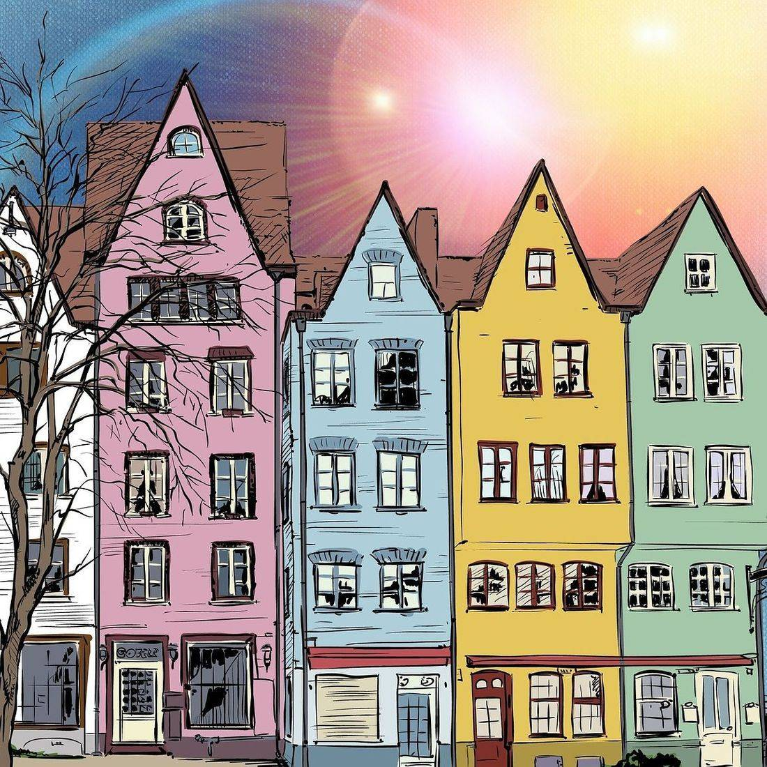 Row houses, different colours.