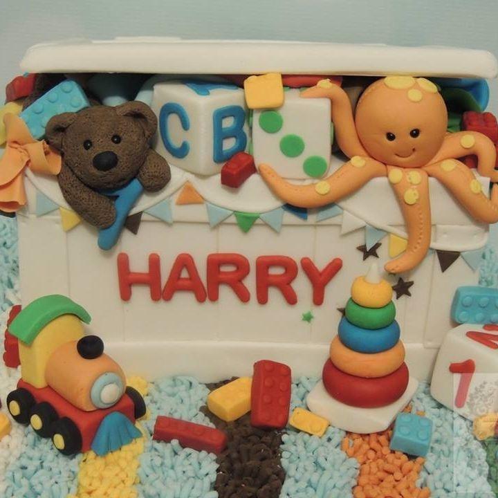 Toy Box Chest Birthday Cake Teddy Train Blocks Buntin