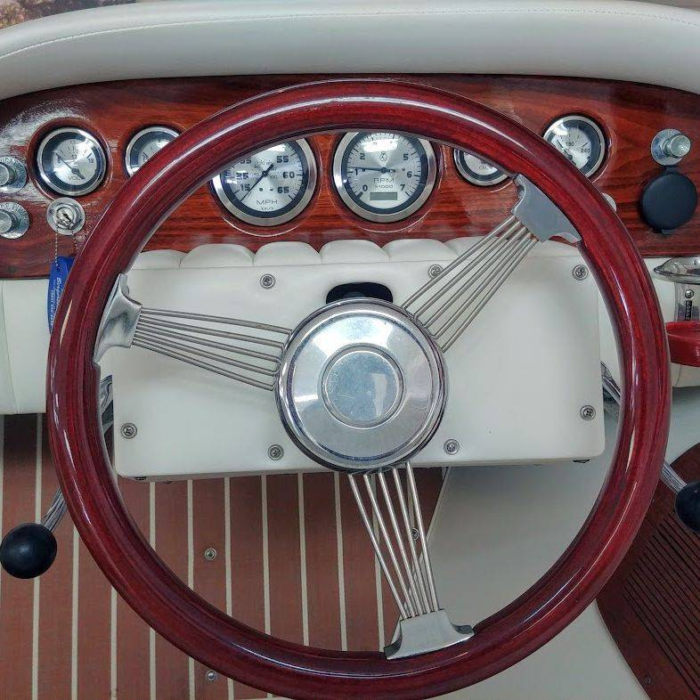 classic wood boats in lake geneva showroom
