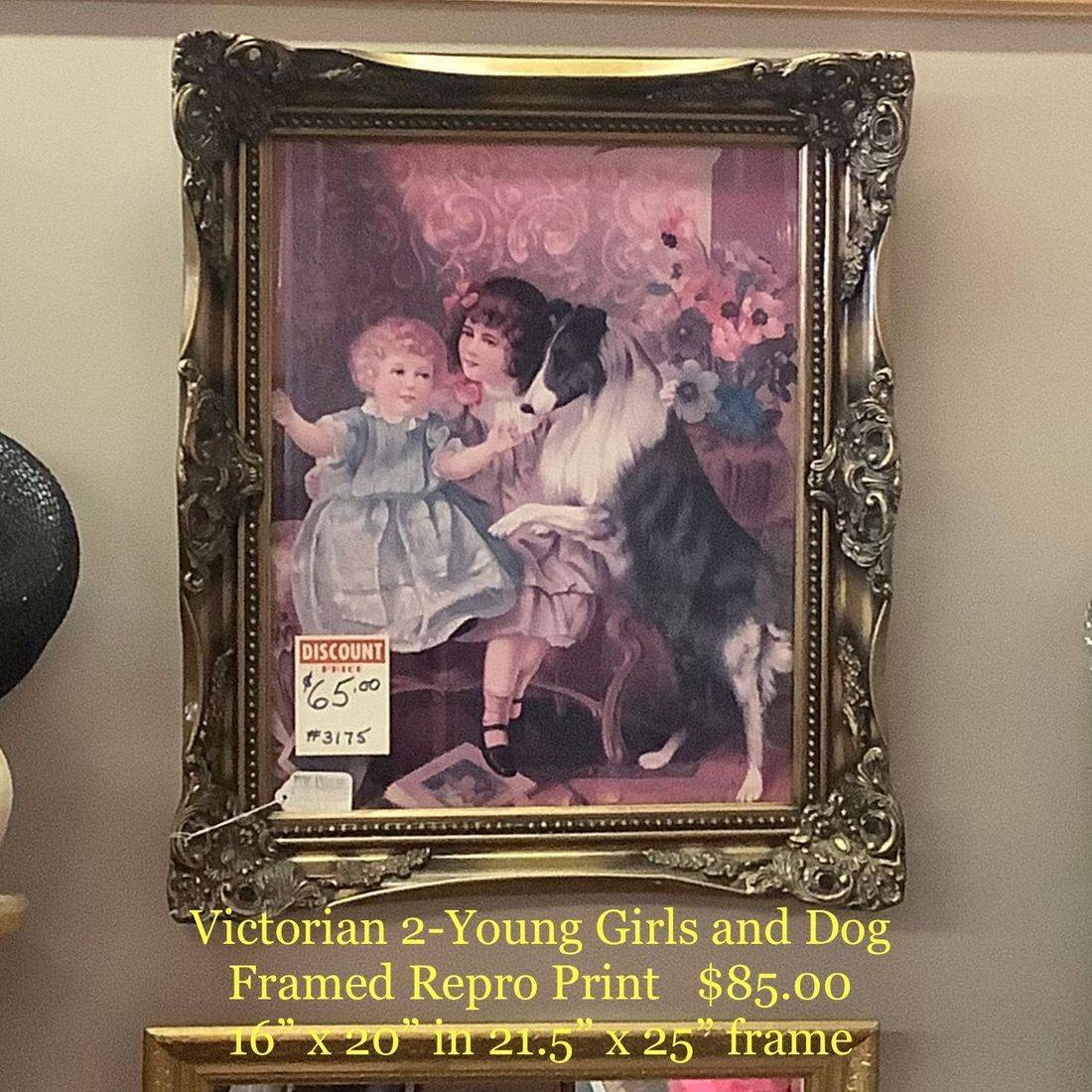 Victorian Repro, 2-Young Girls and Dog Framed Print  $85.00