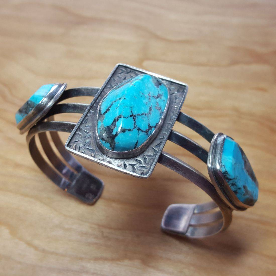 Turquoise SS Triangle Wire Cuff Bracelet (RAF Personal Collection)