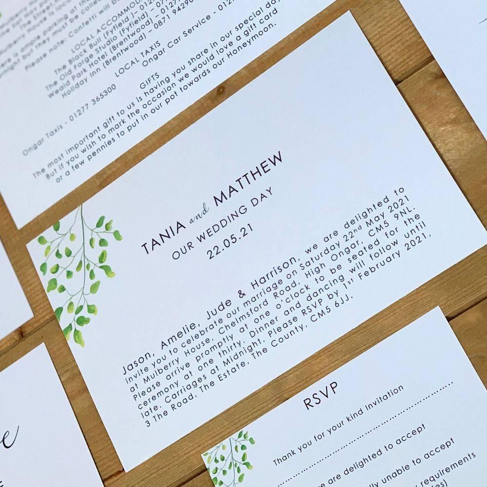 Botanical Wedding Invitation - green leaves on white
