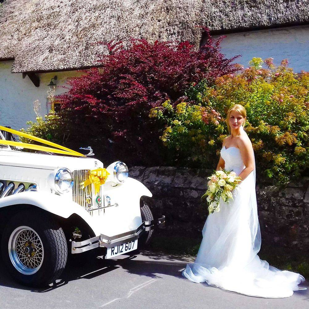 Vintage Beaufort Wedding Car for beautiful South Wales countryside wedding.