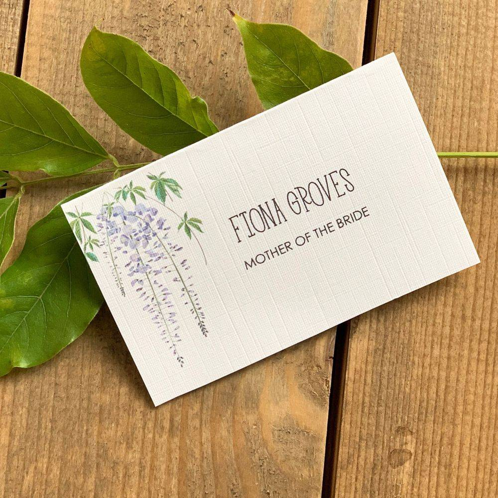 Lilac and White place name cards