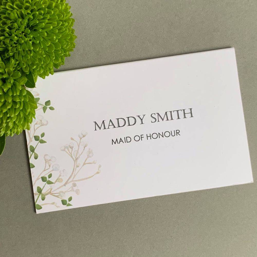 Wedding guest place names white with Gypsophila print