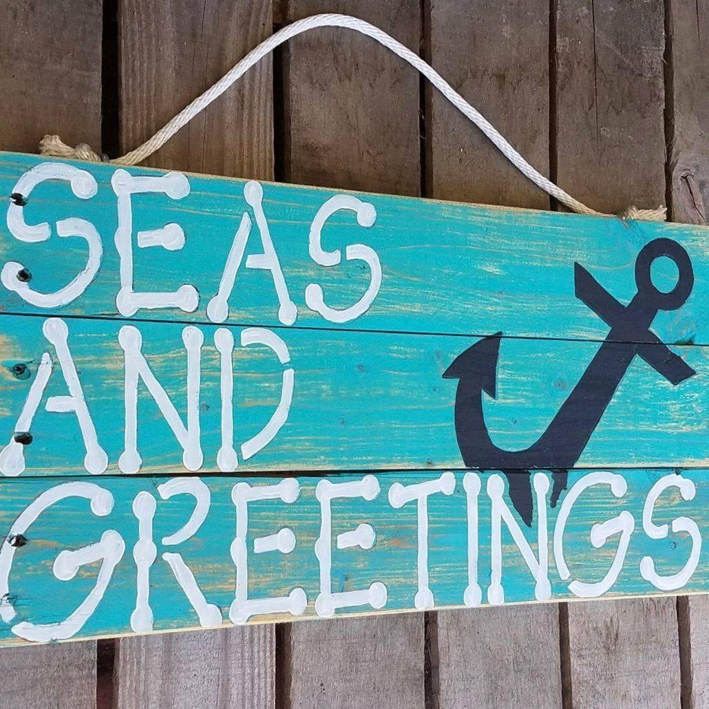 USA Handmade Reclaimed Pallet Wood Seas And Greetings Beach Sign