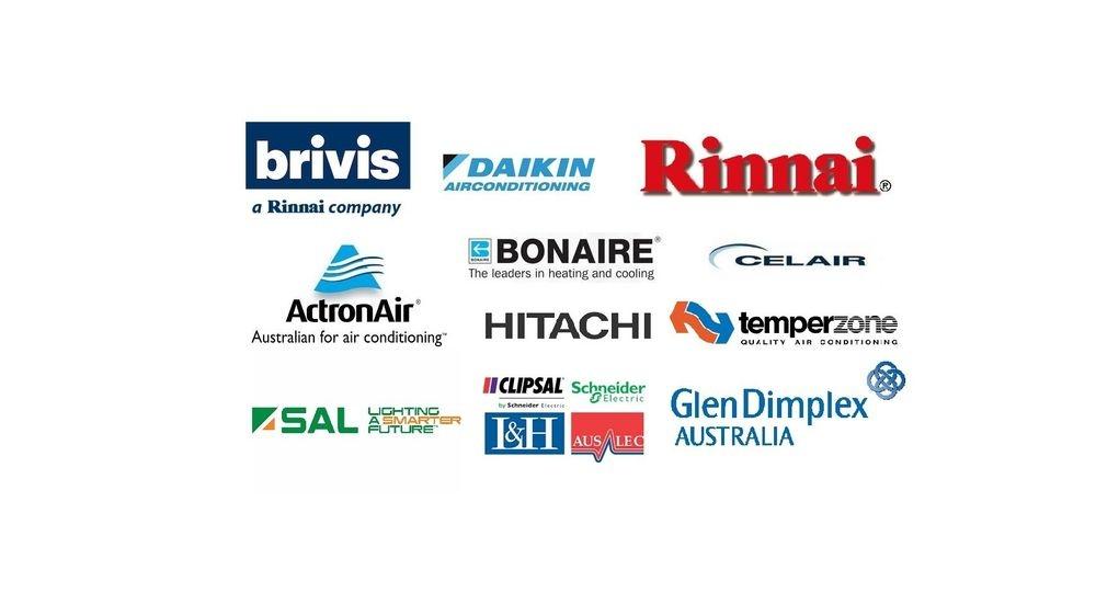 Daikin - Brivis - Actron Air - Bonaire -Celair - Rinnai - Hitachi - Temperzone - SAL - Glen Dimplex