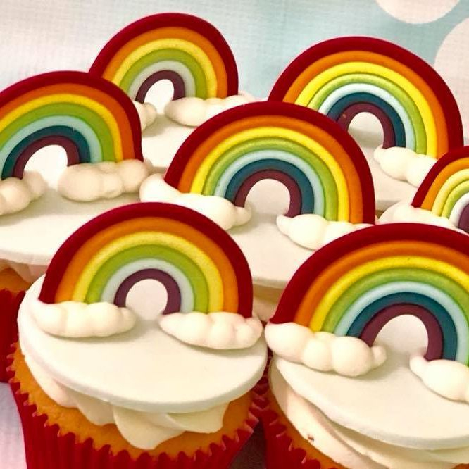 Rainbow Fluffy Cloud Cupcakes Birthday Mother's Day Bright