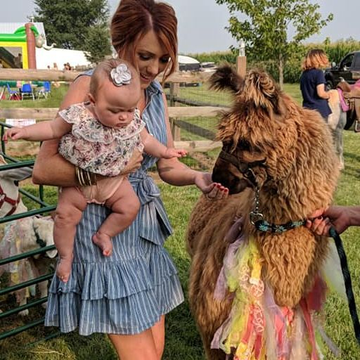 Woman holding  a baby and petting a brown llama