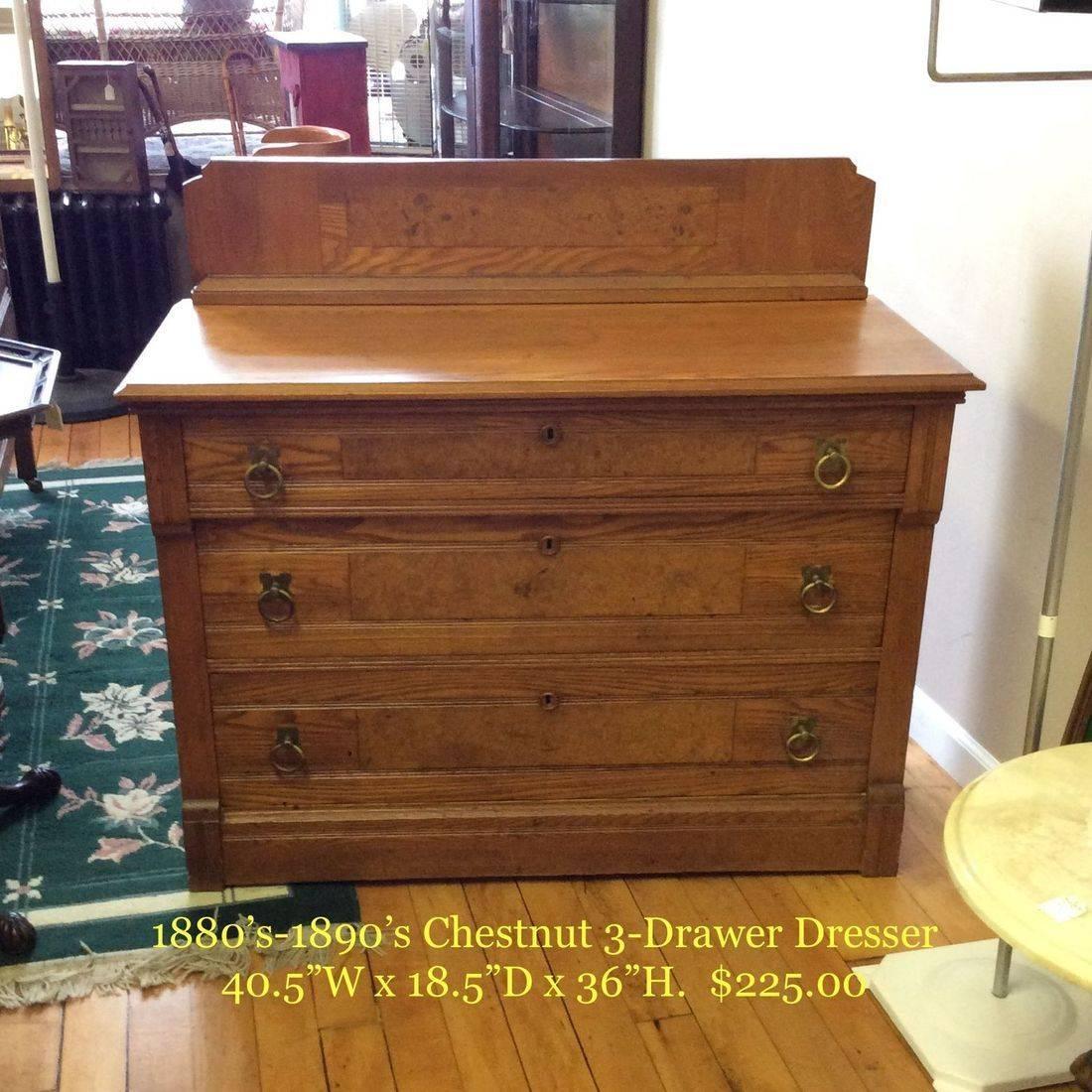 """1880's - 1890's Chestnut 3-Drawer Dresser w/Birdseye Maple Inlay Panels  40-1/2""""W x 18-1/2"""" D x 28-3/4"""" H ( 36-1/4"""" H w/Backsplash )   $225.00"""