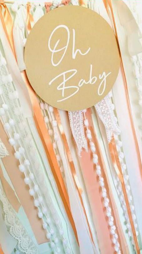 Ribbon Streamer Oh Baby Pink and White Garland