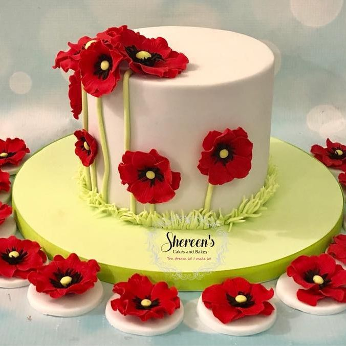 Poppy Cake Cupcake Topper Birthday Flower