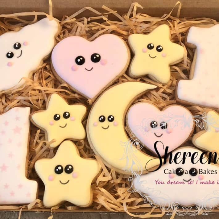 Iced Cookies Biscuits 1st birthday first cloud star moon one 1 kawaii