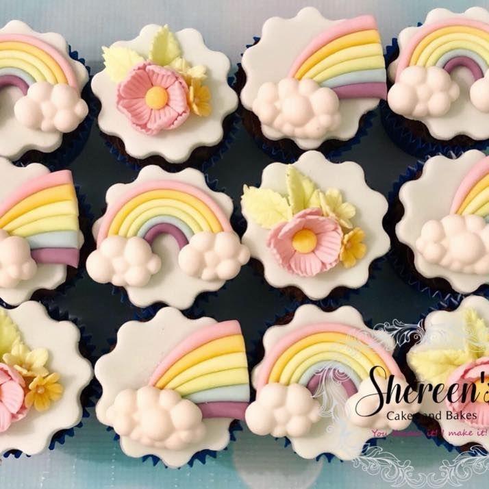 Pastel Birthday Rainbow Flower Cloud Cupcakes