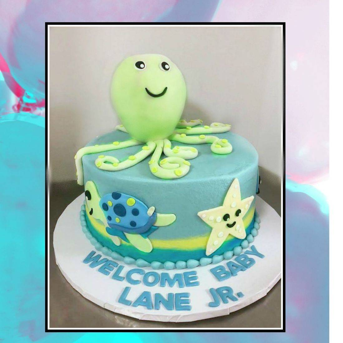 Under the Sea Baby Shower cake Octopus cake