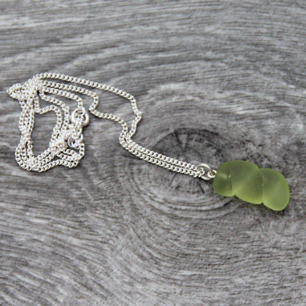 Silver and sea glass necklace
