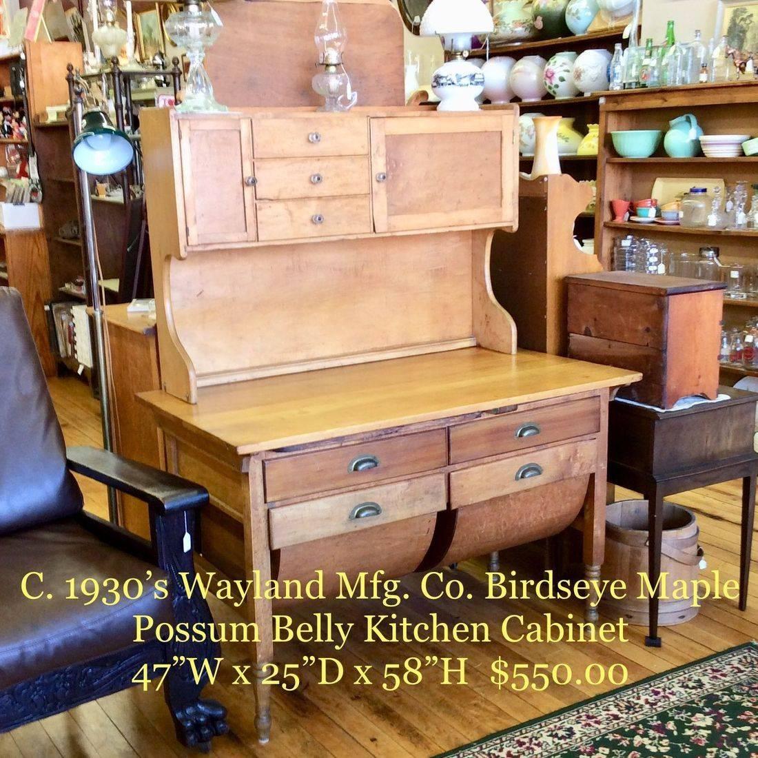"Circa 1930's Wayland Mfg. co. Birdseye Maple Kitchen Cabinet,  base 47"" W x 25-1/2""D x 30-1/4""H (58-1/2""H w/Top Cabinet)   $550.00"
