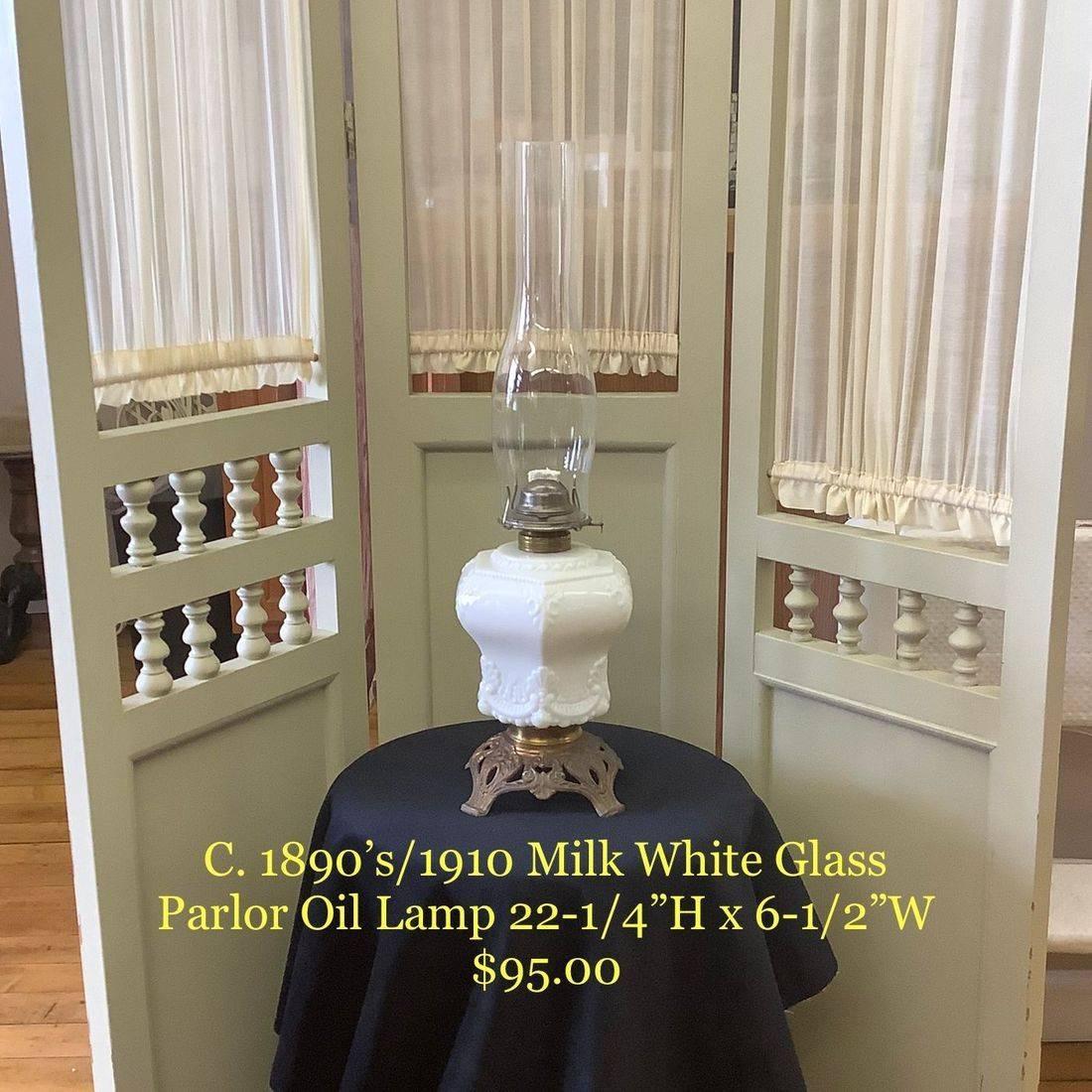 C. 1890's/1910  Milk White Glass, Parlor Oil Lamp   $95.00