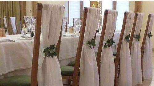 White Chiffon vertical drop Sash Hire