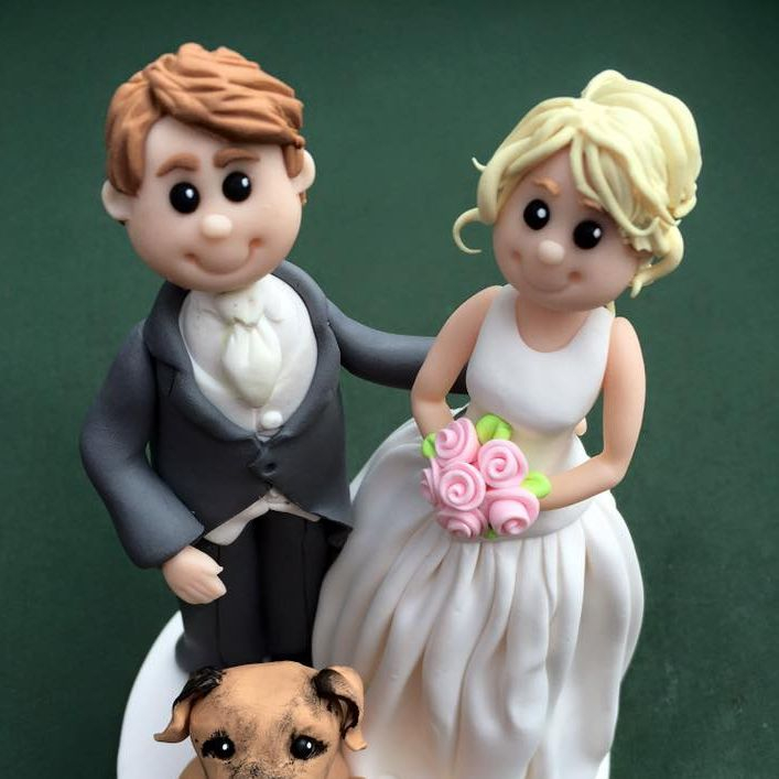 Bride Groom Pet Dog Wedding Keepsakes Clay Topper