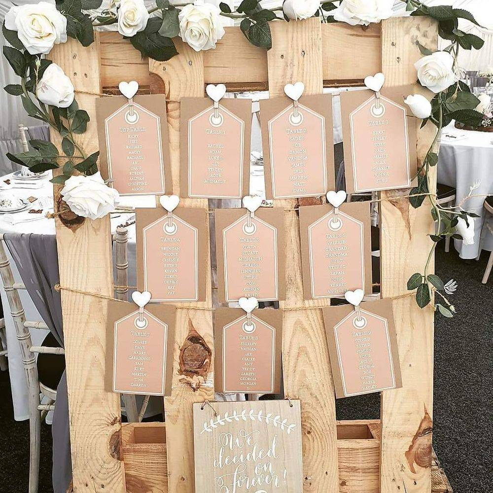 Rustic wedding decorations at The Old Vicarage