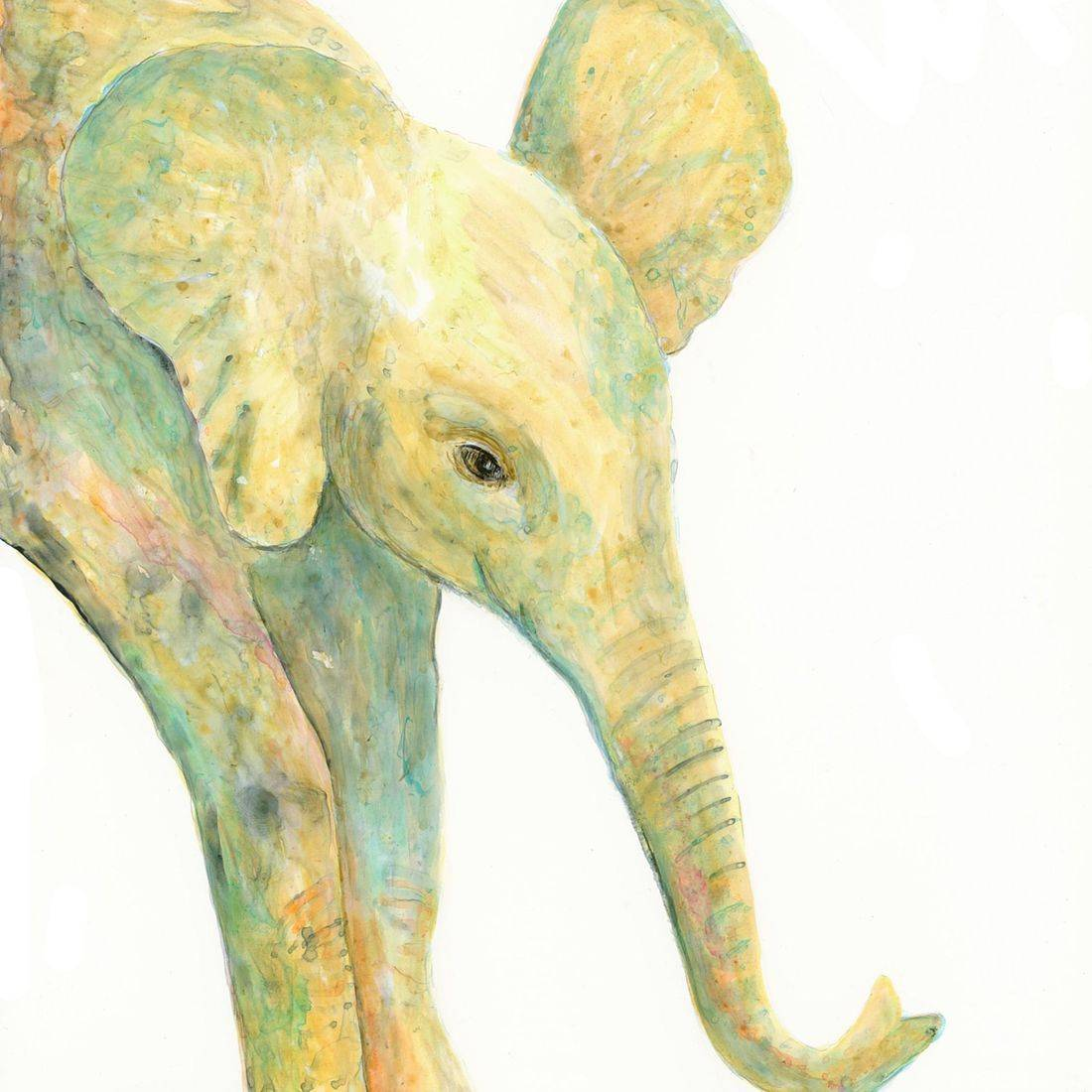 Elephant painting, Acrylic Ink on Yupo Paper, by Barbara Polc