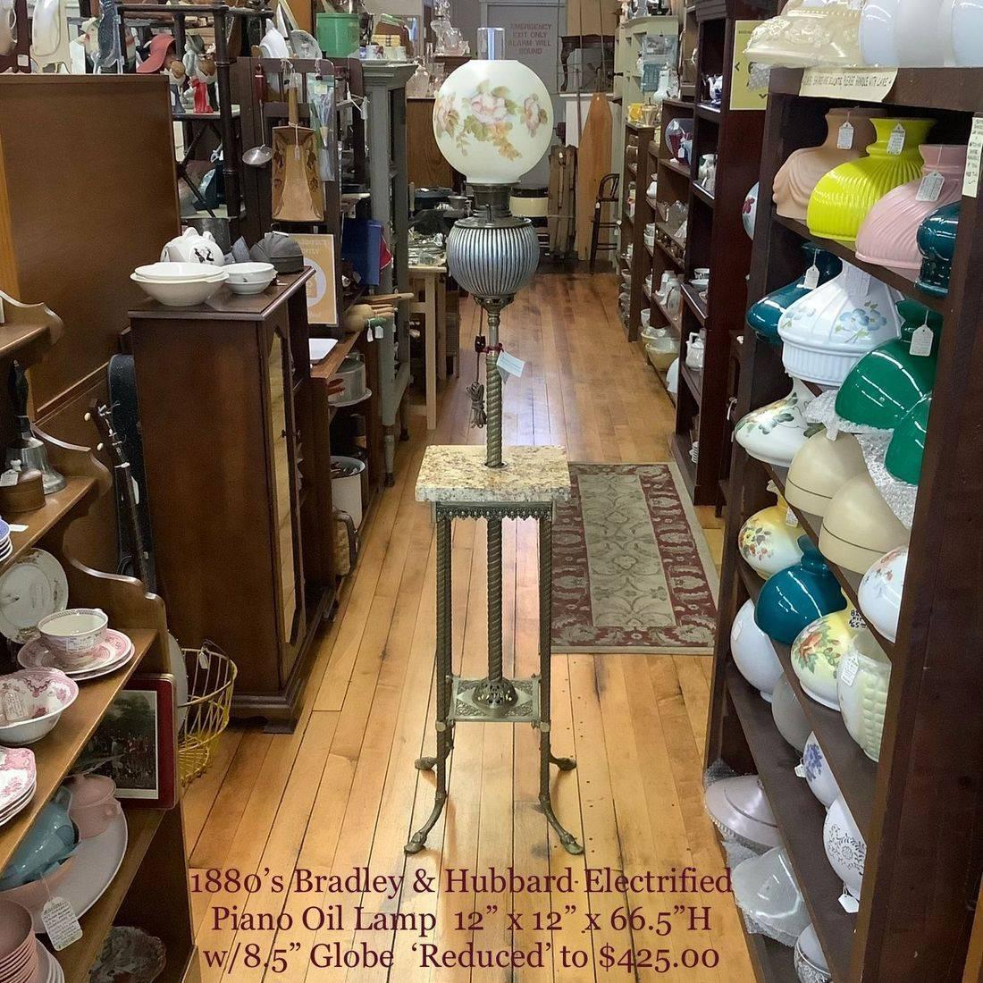 1880's Bradley & Hubbard Electrified Piano Oil Lamp   $425.00