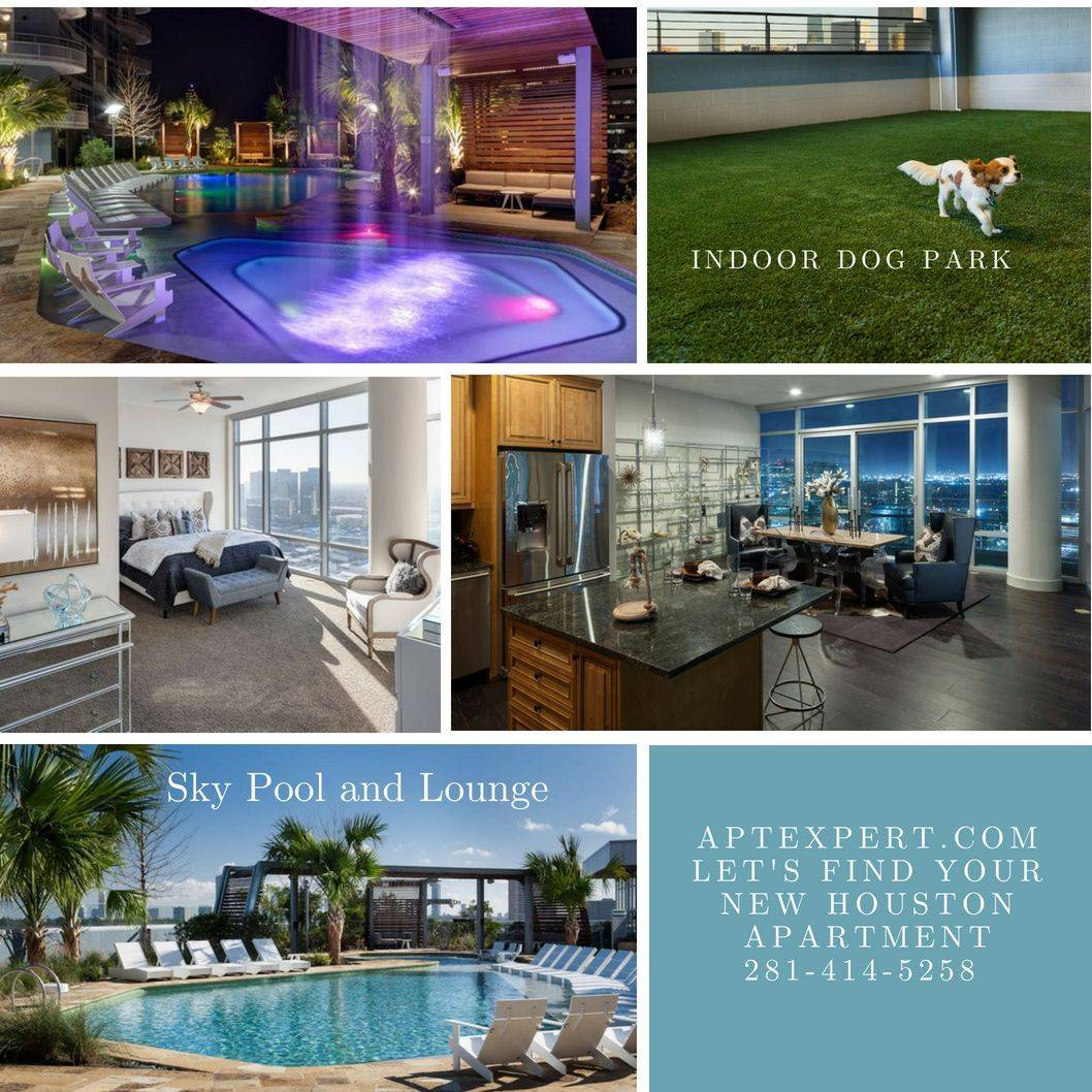 2929 Weslayan Apartments grotto pool, indoor dog park, bedroom with view, sky pool and sundeck