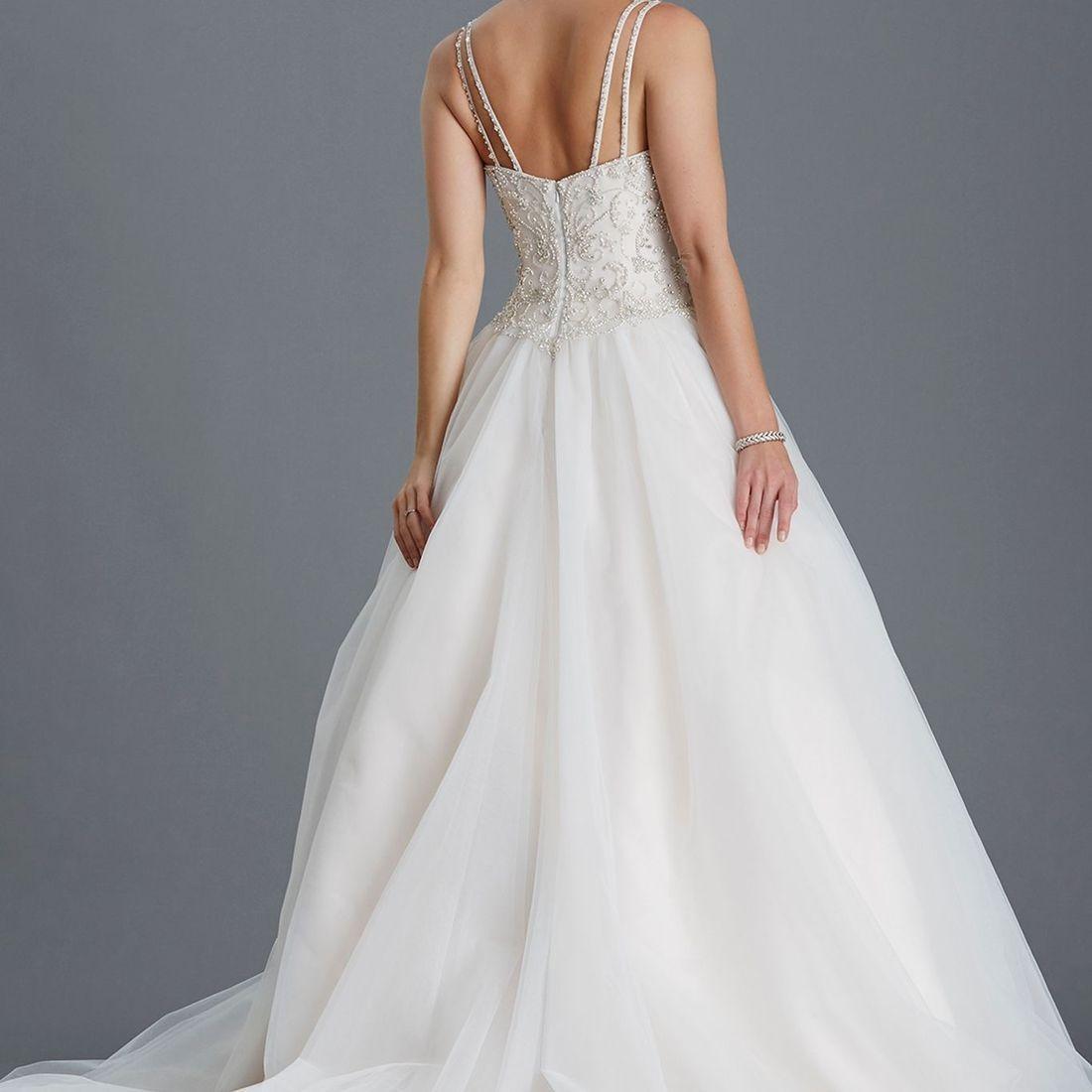 Back of ballgown, princess wedding dress