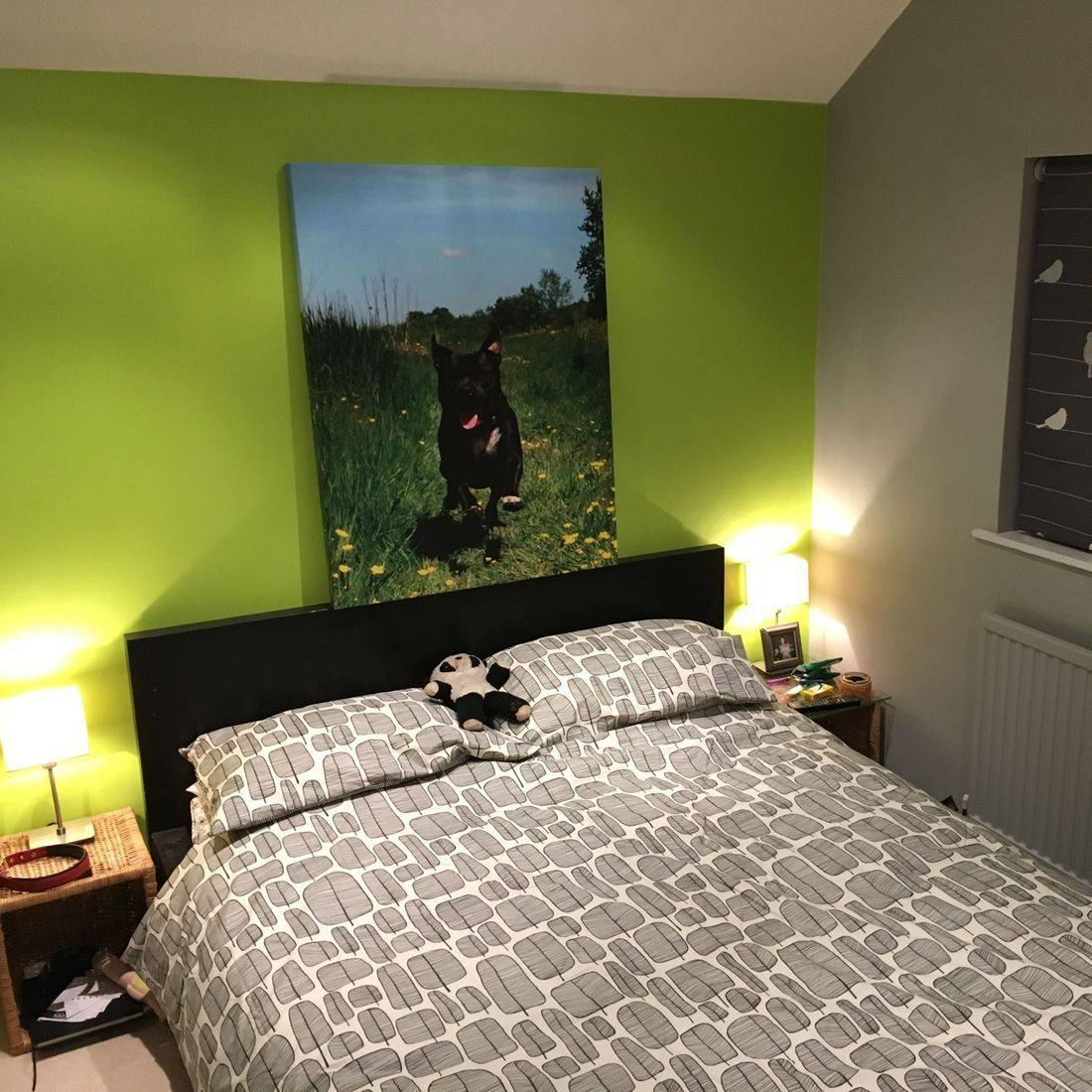 Painted Bedroom Lime Green Grey