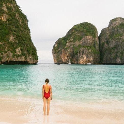 A woman on the beach