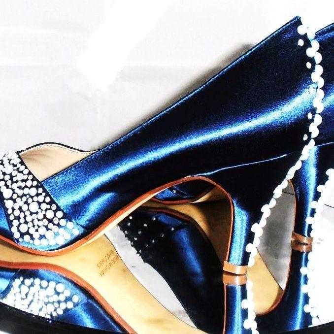 bespoke custom blue wedding shoes pearls nicky rox