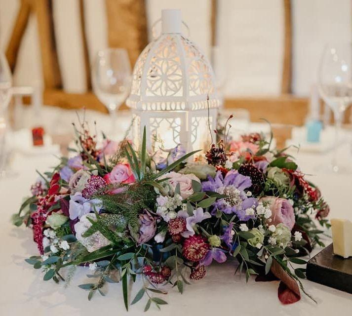 Rustic Lantern Wreath Wedding Flowers