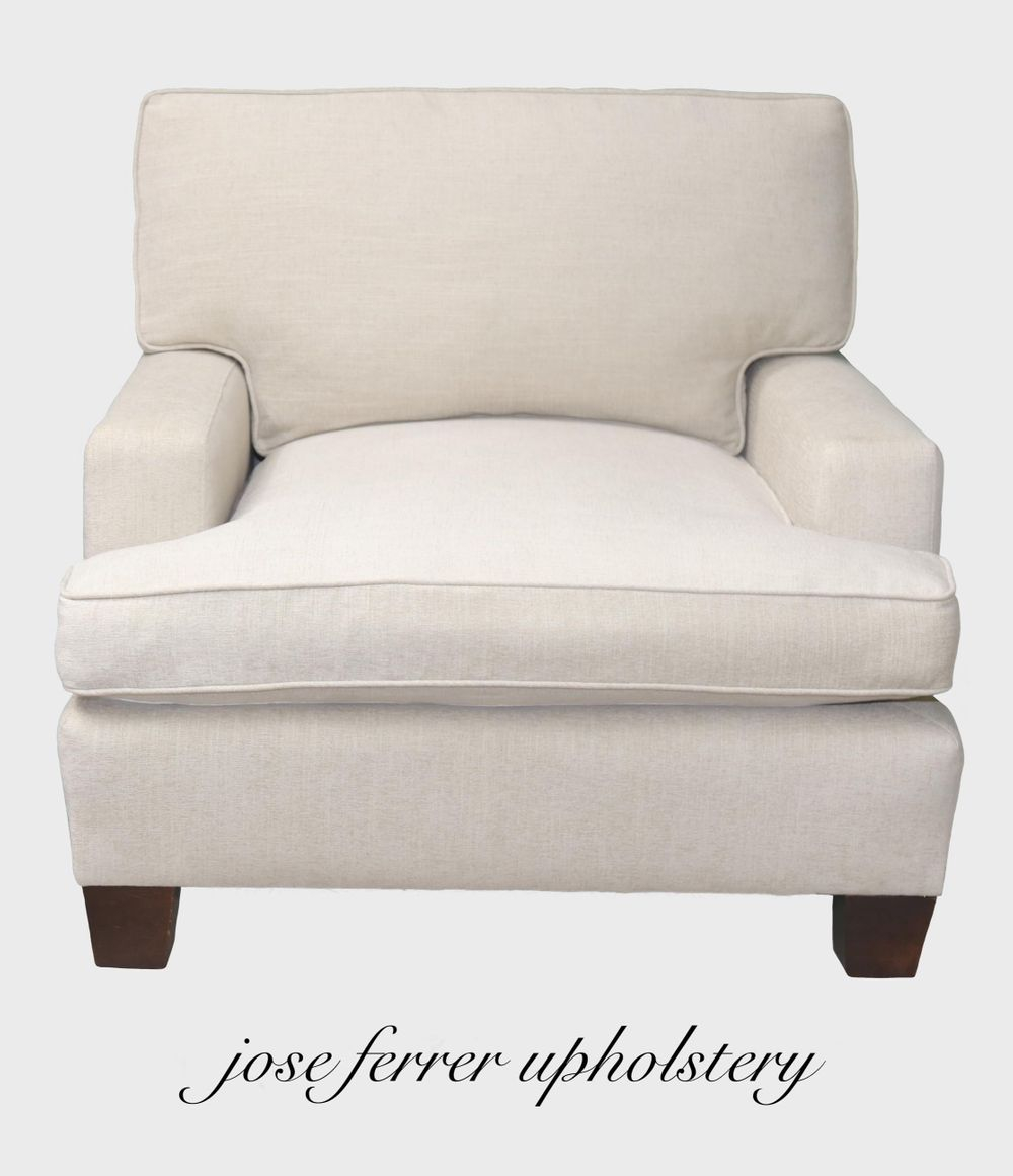 large chair in white linen